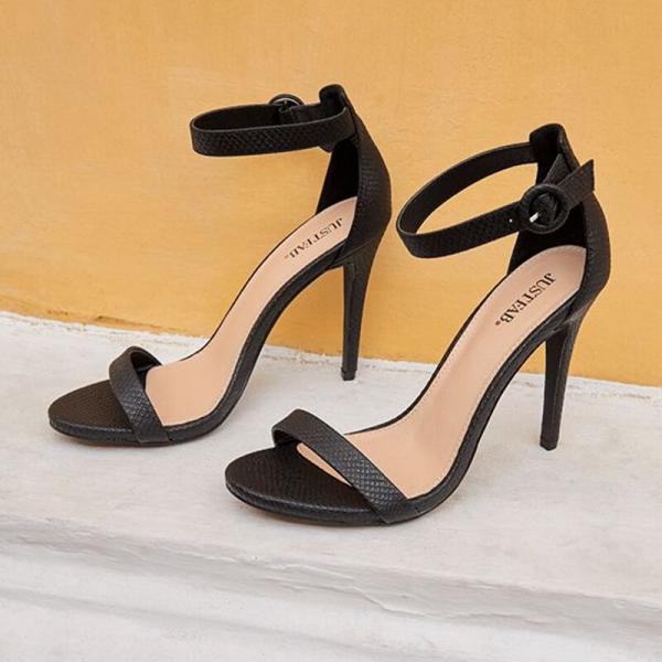 Women Black Snake High Sandal