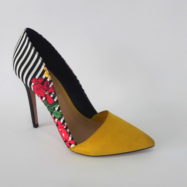 Patterned Yellow Lady Pumps