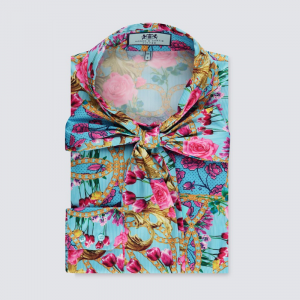 Hawes and Curtis Women Blue Tulip Satin Blouse