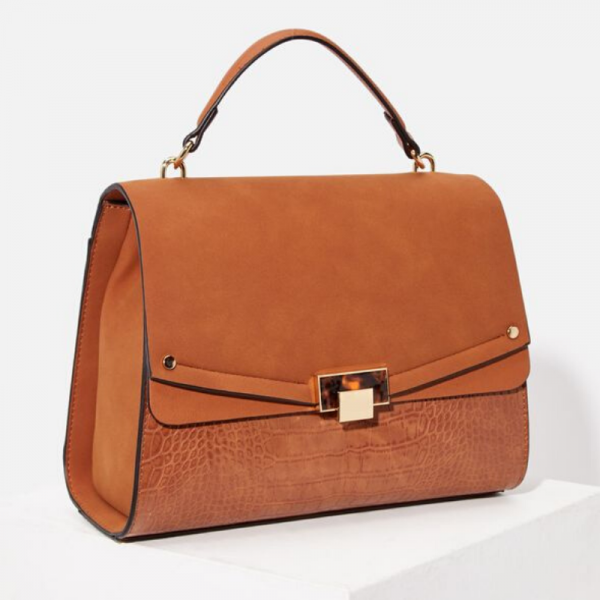 Mixed Media Satchel Cognac Bag