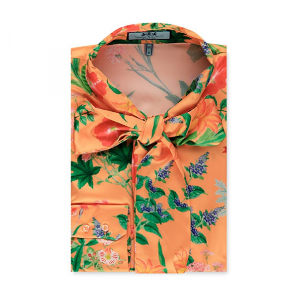 Hawes and Curtis Women Orange Floral Satin Blouse