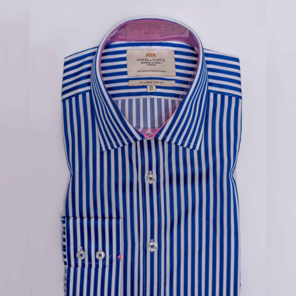 Hawes and Curtis Men Navy Stripe Shirt