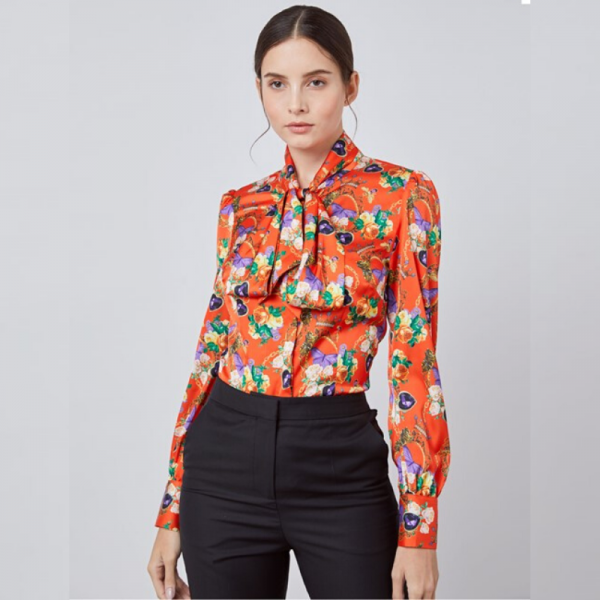 Hawes and Curtis Women Butterfly Satin Blouse