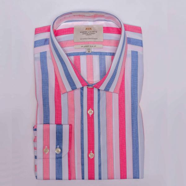 Hawes and Curtis Men Pink & Blue Stripe Shirt