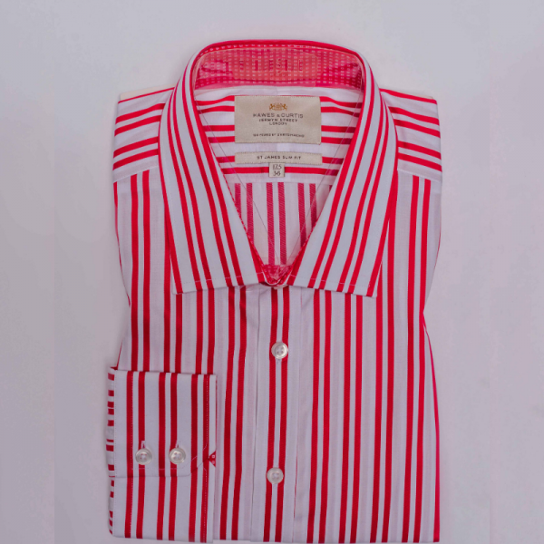 Hawes and Curtis Men Red & White Stripe Shirt