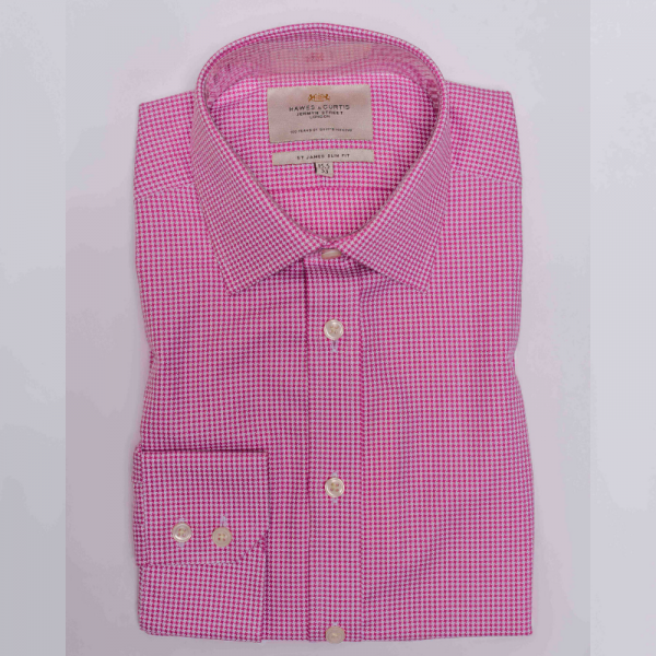 Hawes and Curtis Men Pink & White Check Shirt