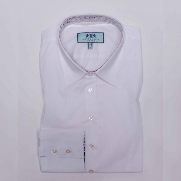 Hawes and Curtis Women White Contrast Shirt