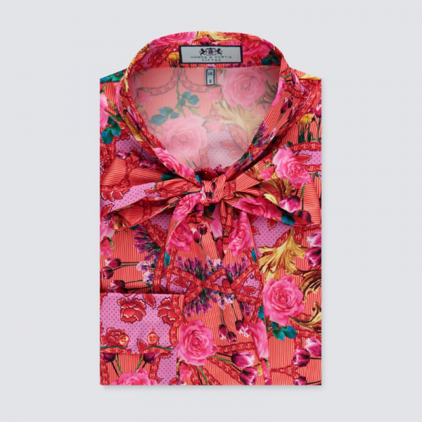 Hawes and Curtis Women Red Tulip Satin Blouse