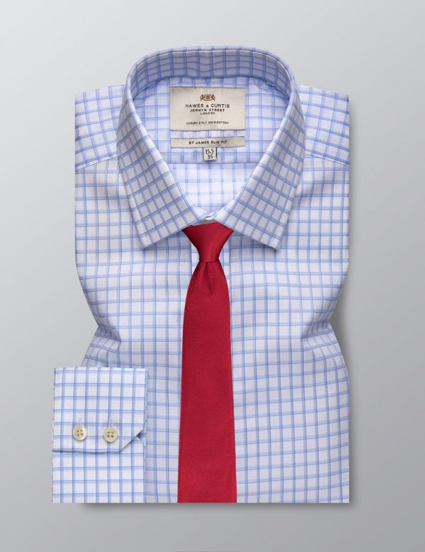 H & C Men Blue & White Grid Shirt