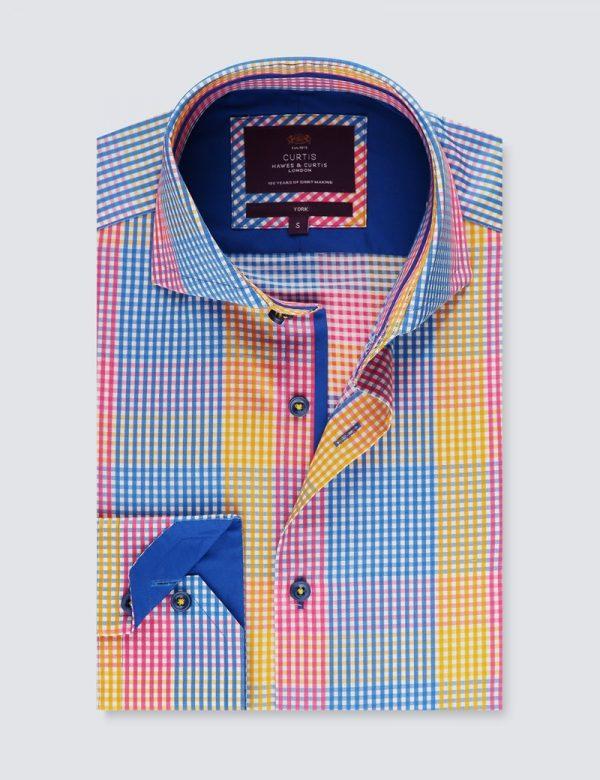 Hawes & Curtis Men York SC Yellow & Blue Check Shirt